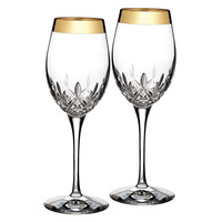 Waterford Lismore Essence Gold Wine Glasses (Set of 2)