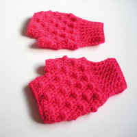 Hot Pink Fingerless Crochet Wrist Warmer Gloves, Wristlets, ready to ship.