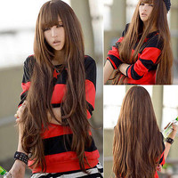 Womens Sexy Fashion Brown Cosplay Long Loose Wavy Curly Hair Full Wig Wigs
