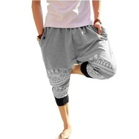 2 Colors Mens Cotton Loose Harem Pants Printed Harem Calf-length Pants