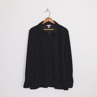 Sheer Burnout Velvet Shirt Black Velvet Burnout Shirt Oversize Shirt Velvet Blouse Velvet Jacket 90s Shirt 90s Grunge Shirt Gypsy S M L XL