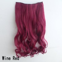 X&Y ANGEL New One Piece Long Curl/curly/wavy Synthetic Thick Hair Extensions Clip-on Hairpieces 9 Colors (wine red)