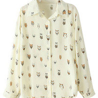 ROMWE Owl Print Long Sleeves Yellow Shirt