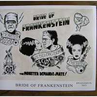 Bride of Frankenstein tattoo flash print.