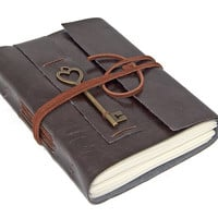 Dark Brown Faux Leather Journal with Heart Key Bookmark