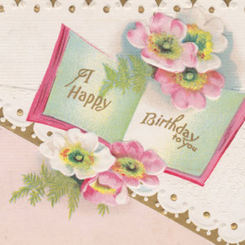 vintage happy birthday flower images