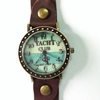 Yacht Club, Sailing, Nautical, Retro Leather Watch, Mens Watch, Women Watches, Unisex Watch, Boyfriend Watch, Brown