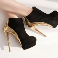 New Arrival Suede Ankle Boot Women Platform Shoes Sexy Golden High Heels
