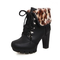BeautyLover Women's Close Round Toe Platform Leopard Pattern Lace-up Closure Chunky Heels Nappa and PU Ankle High Boots