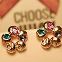Colorful Follower Wheel Rhinestone Earrings