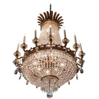 French Regency Style Six Light Bronze Crystal Chandelier