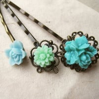 Ice Blue & Mint Flower Hair Pins by PiggleAndPop