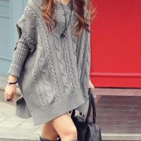 Gray Oversized Cable Knit Batwing Sweater