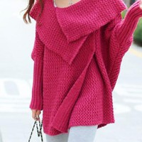 Pink Oversize Fold Over Batwing Knit Sweater