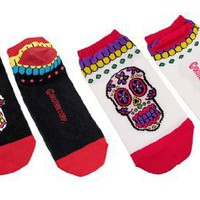 Women`s Day of the Dead Sugar Skull Ankle Socks Black/White 2 Pairs