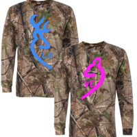 browning deer realtree tshirt and long sleeve love couple - TeeeShop