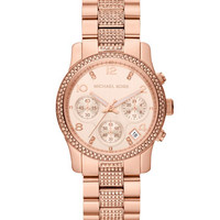 Michael Kors Mid-Size Rose Golden Stainless Steel Runway Chronograph Glitz Watch
