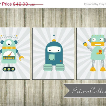 Robot nursery wall art prints set of 3 from primo collection for Robot baby room decor