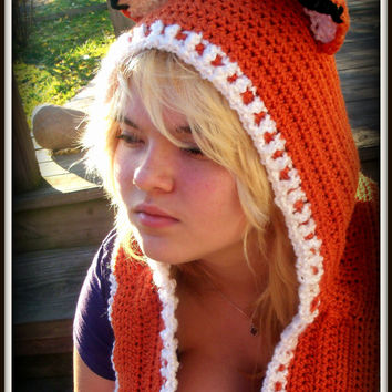 Free Crochet Fox Cowl Hat Pattern : Best Crochet Scoodie Products on Wanelo