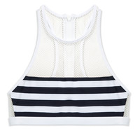 T by Alexander Wang Stripe Mesh Swim Top - Bikini Top - ShopBAZAAR