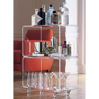 peekaboo clear lucite acrylic rolling two shelf bar cart