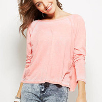 Burnout Twist Back Long-Sleeve