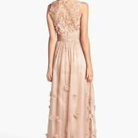 JS Collections Floral Appliqué Chiffon Gown | Nordstrom