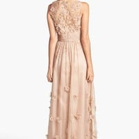 JS Collections Floral Applique Chiffon Gown