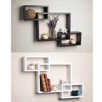 Laminate Intersecting Espresso Wall Shelf