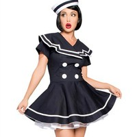 Pinup Girls Costumes - 2 PC. Classic Tailored Pinup Sailor Captain Pinup Girl Style Halloween Costume (Incl. Dress & Hat)
