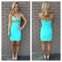 Mint Strapless Sequin Getaway Holiday Dress