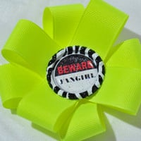 "Neon fangirl bow yellow with zebra ""Beward fangirl"""