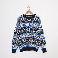 Blue & Black Fair Isle Sweater Fairisle Sweater Nordic Sweater Ski Sweater Oversize Sweater Hipster Sweater 80s 90s Mens M Medium L Large