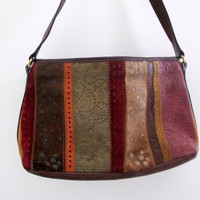Vintage Handbag Purse Leather Suede Tooled Floral Print Brown Rose Red
