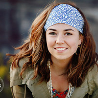 Spring Headband, Blue Swirl Hairband, Womens/Teens Bandana- Blue Floralia | Luulla