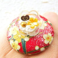 Kawaii Food Ring Vanilla Ice Cream Chiyogami by SouZouCreations