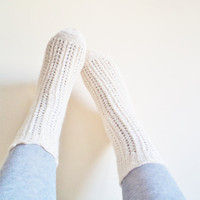 Knitted girls sock, wool socks, handmade socks, Kids Leg warmers, Cream unique socks
