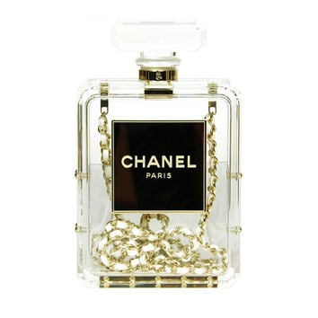 CHANEL Clear Plexiglass 'No. 5' Perfume Bottle Clutch W. Chain Strap c. 2014