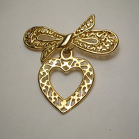Vintage Bow and Heart Goldtone Brooch