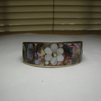 Mother of Pearl Flower Adjustable Cuff Bracelet Mexican Silver