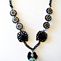 Rhinestone Mint Green Necklace with Bow Black Beads and Black Chain. Choose Your Length!