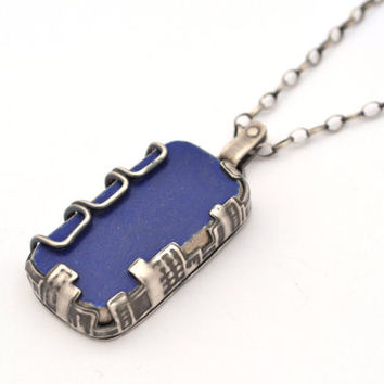 Sterling Sivler Statement Necklace with Blue Beach Pottery Set in a City Scape Bezel, One of a Kind Statement Necklace