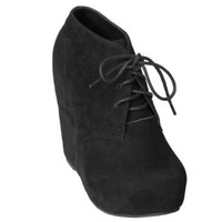 Brinley Co Womens Lace-up Wedge Bootie