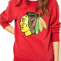 Red Indian Chief Print Sweatshirt