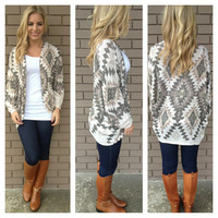 Mocha Aztec Light Knit Cardigan
