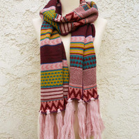 Knitted Navajo Fringe Scarf [4885] - $10.00 : Vintage Inspired Clothing & Affordable Dresses, deloom | Modern. Vintage. Crafted.