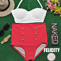 Felicity - Retro Vintage Pin Up Handmade Red White Corset High Waist Bikini Swimsuit Swimwear