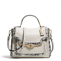 MADISON SMALL SADIE FLAP SATCHEL IN TWO-TONE PYTHON EMBOSSED LEATHER