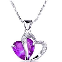 Purple Amethyst Valentine Rhinestone Heart Pendant Necklace
