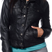 Obey Black Faux Leather Hodded Rider Jacket